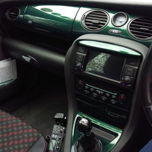 British Racing Green dashboard & touchscreen infotainment system